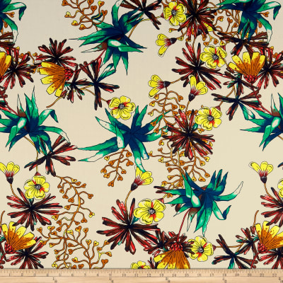 Cotton Linen Abstract Tropical Floral Yellow/Green