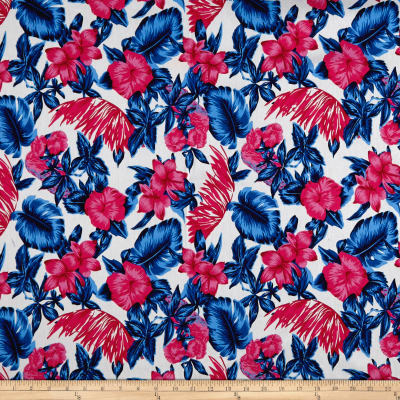 Cotton Linen Broadcloth Tropical Paradise Floral Pink/Blue