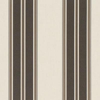 "Sunbrella 46"" Awning Stripe Premium 4946-0000 Black/Taupe Fancy"