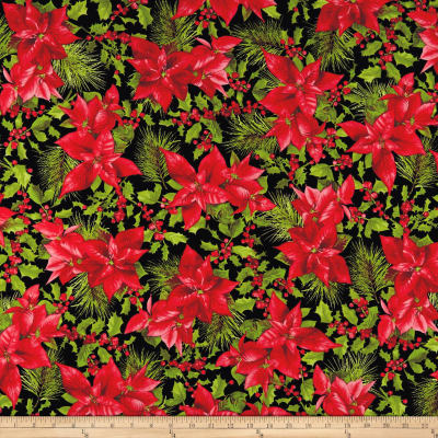 Maywood Studio Poinsettia & Pine Poinsettia Mixed Floral Black