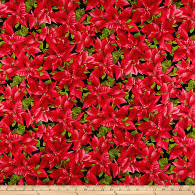 Maywood Studio Poinsettia & Pine Packed Poinsettia Black