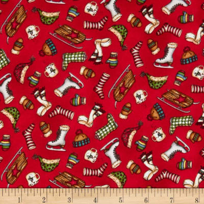 Maywood Studio Christmas Joys Flannel Winter Things Red