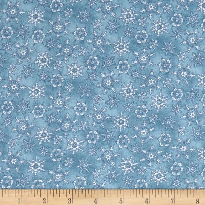 Maywood Studio Christmas Joys Flannel Miniature Snowflakes Medium Blue