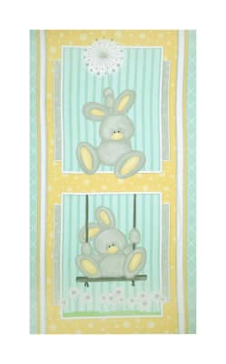 "Flannel Fluffy Bunny 24"" Bunny Panel Blue"