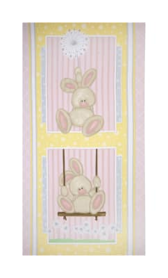 "Flannel Fluffy Bunny 24"" Bunny Panel Pink"