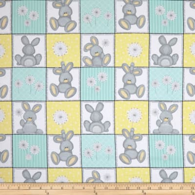 Flannel Fluffy Bunny Bunny Squares Blue