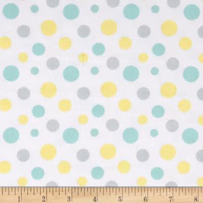 Flannel Fluffy Bunny Dots Blue/Yellow