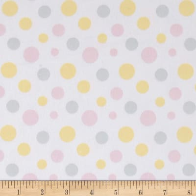 Flannel Fluffy Bunny Dots Pink/Yellow