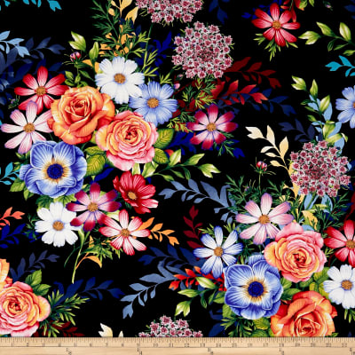 Botanical Blooms Large Multi Floral Black