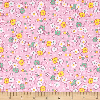 Nana Mae II 1930's Reproduction Floral Dot Pink