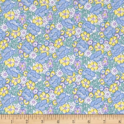 Nana Mae II 1930's Reproduction Packed Floral Blue