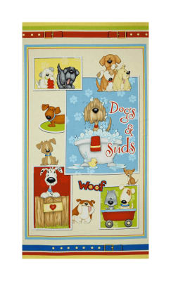 "Dogs & Suds 23"" Dog Panel Multi"