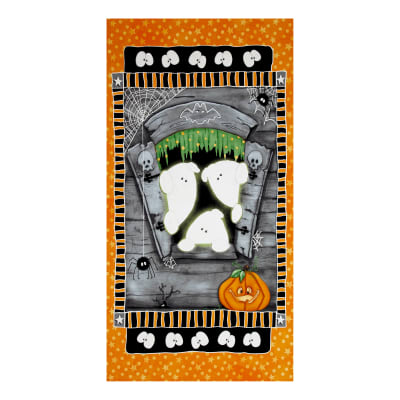 "Chills & Thrills 24"" Ghost Panel Glow In The Dark Orange"