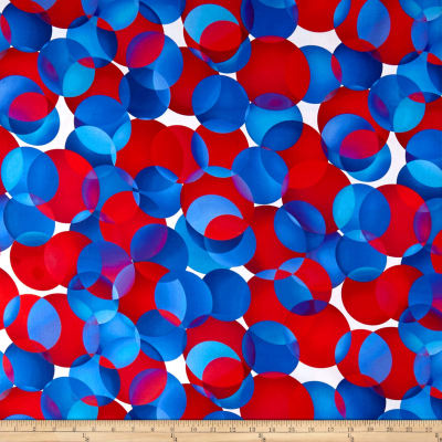 """Digital 108"""" Wide Back Dotcentric Large Overlapping Dots Red/White/Blue"""