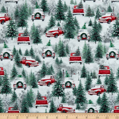 Holiday Wishes Red Pickup Trucks Multi