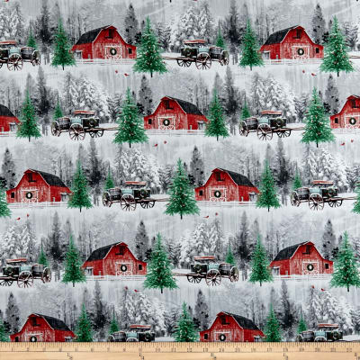 Holiday Wishes Red Barn Scenic Multi