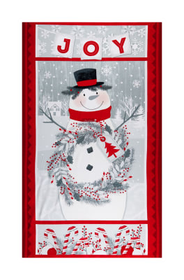 "Flannel Frosty Friends 25"" Snowman Panel Red/Gray"
