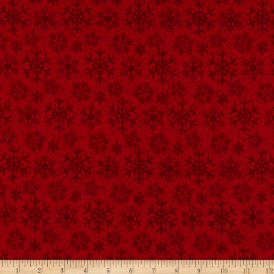 Flannel Frosty Friends Snowflake Red