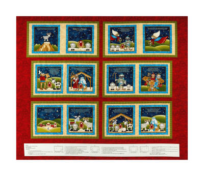 "Away In A Manger 36"" Christmas Hymns Book Panel Red"