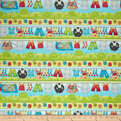 Splish Splash Lambs & Clothesline Border Stripe Yellow