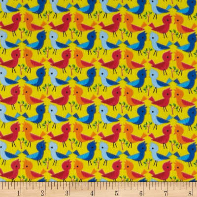 Comfy Flannel Prints Birds Yellow