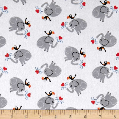 Comfy Flannel Prints Elephant Bird White