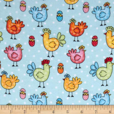 Comfy Flannel Prints Roosters And Eggs Blue