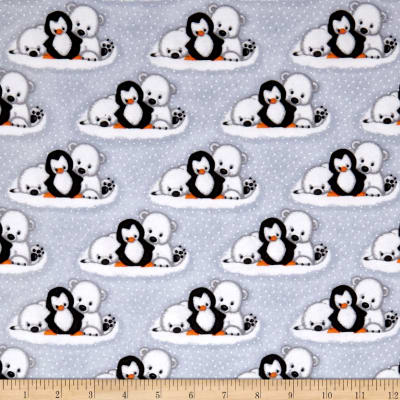 Comfy Flannel Prints Polar Bear Penguins Gray