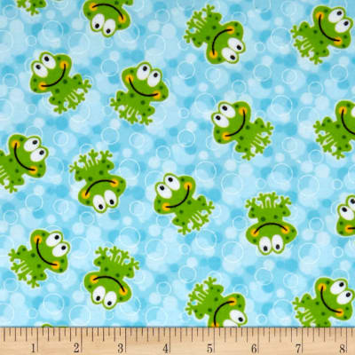 Comfy Flannel Prints Frogs On Bubble Ground Blue