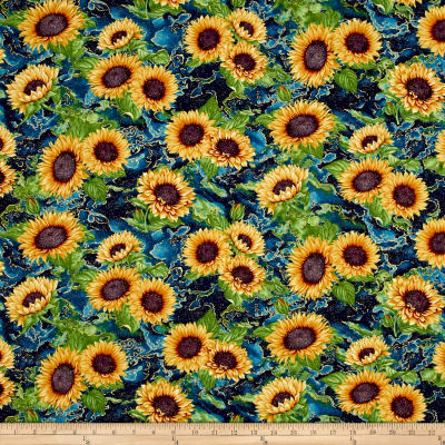 Here Comes The Sun Metallic Sunflower Clusters Teal
