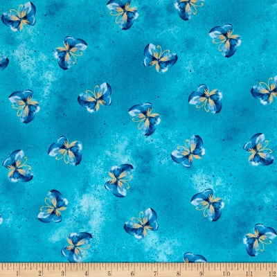 Kanvas Floral Impressions Butterfly Wash Turquoise