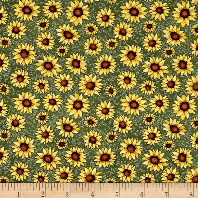 Benartex Sunshine Garden Sunflowers Green