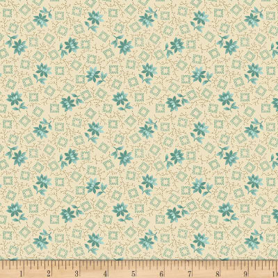 Benartex Homestead: Country Blossom Turquoise/Cream