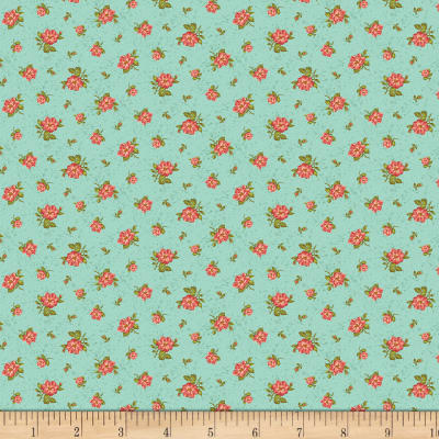 Benartex Homestead: Country Rose Buds Turquoise