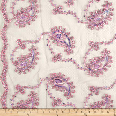 Coco Paisley Sequin Double Border Lace Pink