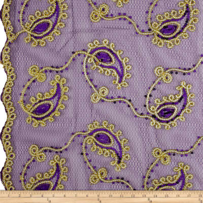 Coco Paisley Sequin Lace Purple Gold