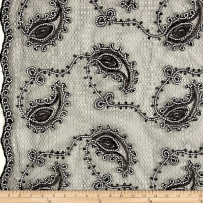 Coco Paisley Sequin Double Border Lace Black and White