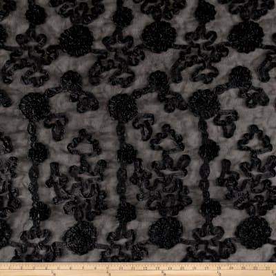 Embroidered Luxury Ribbon Organza Black