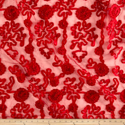 Embroidered Luxury Ribbon Organza Cherry
