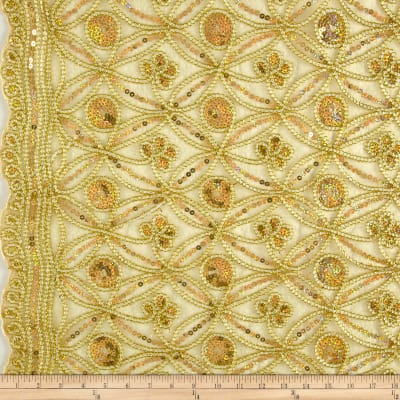 Coco Star Sequin Double Border Lace Gold