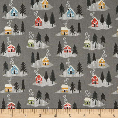 Lewis & Irene Snow Day Snow Day Houses Pearlized Accent Metallic Grey