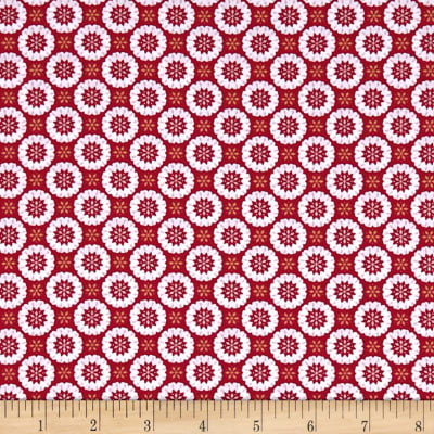 Lewis & Irene Hygge Christmas Heart Snowflakes Christmas Red