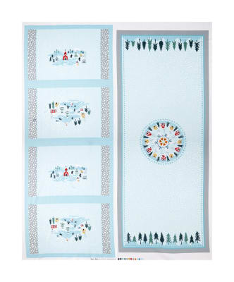 """Lewis & Irene Snow Day Table Center Piece & Placemats 36"""" Panel Metallic Pearlized Accent Silver"""