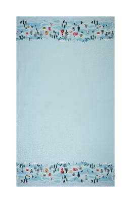 "Lewis & Irene Christmas Snow Day Double Border Scene 18"" Panel Pearlized Accent Icy Blue"
