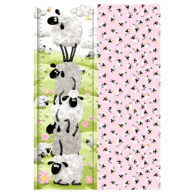 "Susybee Lal the Lamb Growth Chart 30"" Panel Pink"