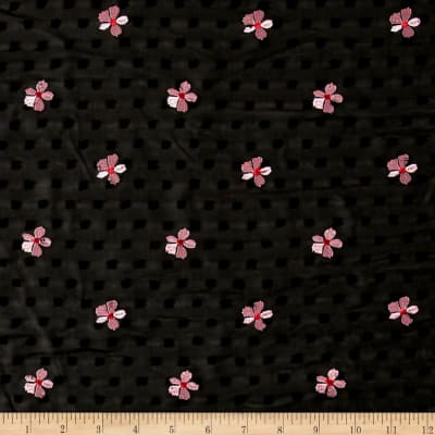 Telio Daisy Swiss Dot Embroidered Chiffon Black/ Pink