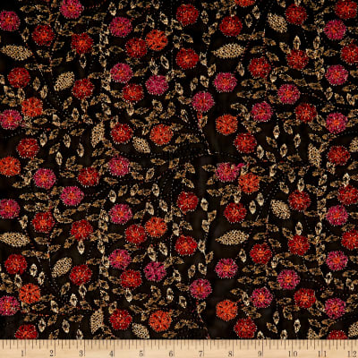 Telio Agra Mesh Embroidery Floral Fuchsia Orange/Black