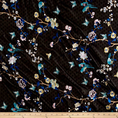 Telio Swiss Dot Embroidery Branch Butterfly Black/Blue