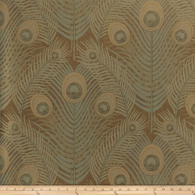 Fabricut Aliette Wallpaper Brown & Cobalt (Double Roll)
