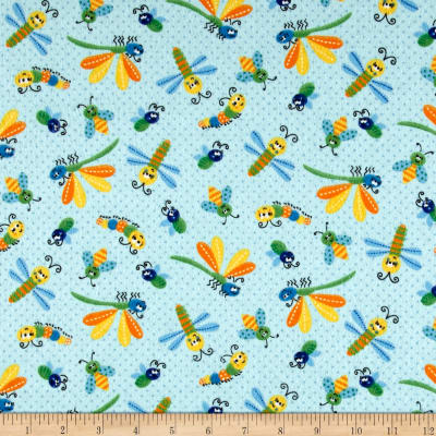 Printed Flannel Bugs Light Blue